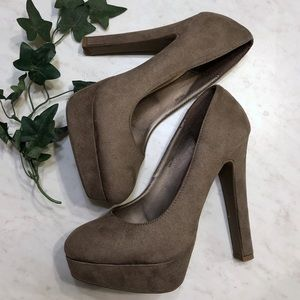 Charlotte Russe Taupe Tan Faux Suede Pump Heels
